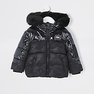 Mini – Schwarzer, hochglänzender Mantel mit Camouflagemuster für Jungen