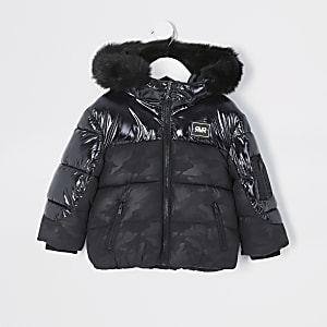 Mini - Zwarte camouflage jas met hoogglans met jongens