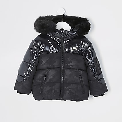 Mini boys black high shine camo coat