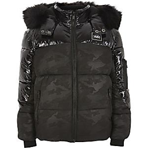 Zwarte camouflage gewatteerde jas met hoogglans voor jongens