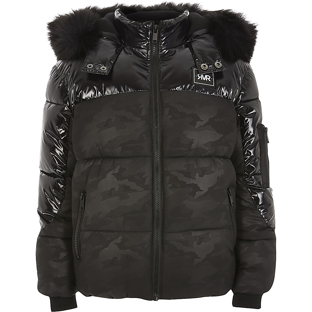 Boys black high shine camo puffer coat