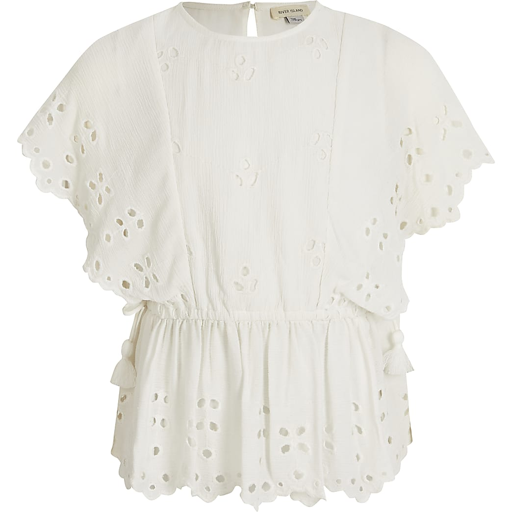 Girls white broderie cinched waist top