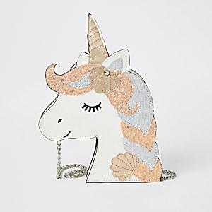 Sac bandoulière licorne blanc à paillettes pour fille