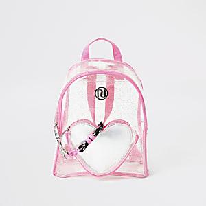 Roze vinyl rugtas met hart met glitters voor meisjes