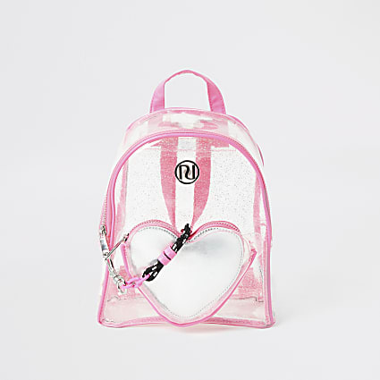 Girls pink glitter heart vinyl backpack