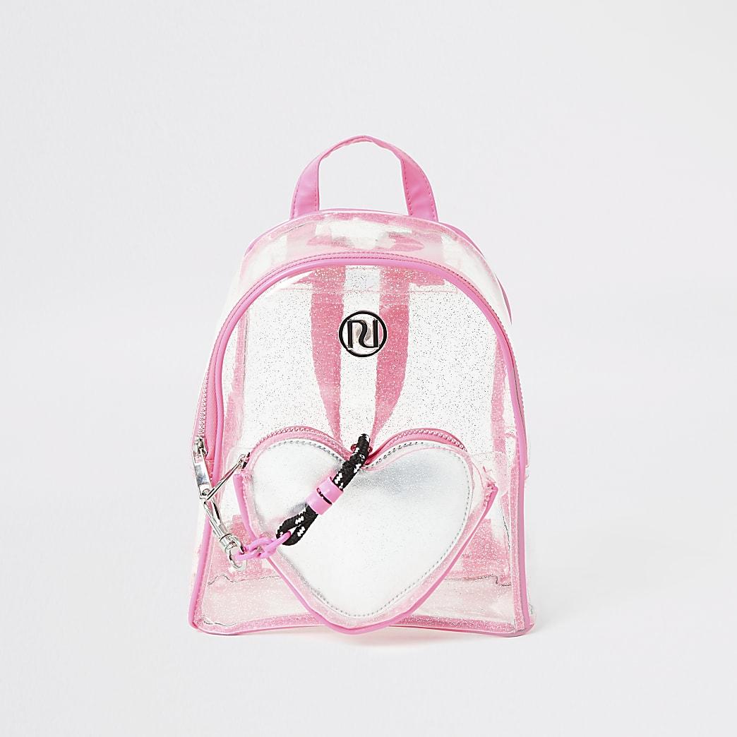 Girls pink glitter heart vinyl backpack