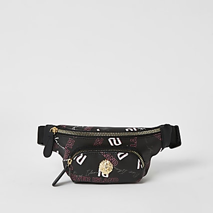 Girls black RI graffiti printed bumbag