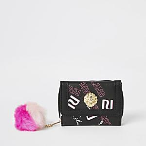 Schwarze, dreifach faltbare Geldbörse mit RI-Print für Mädchen