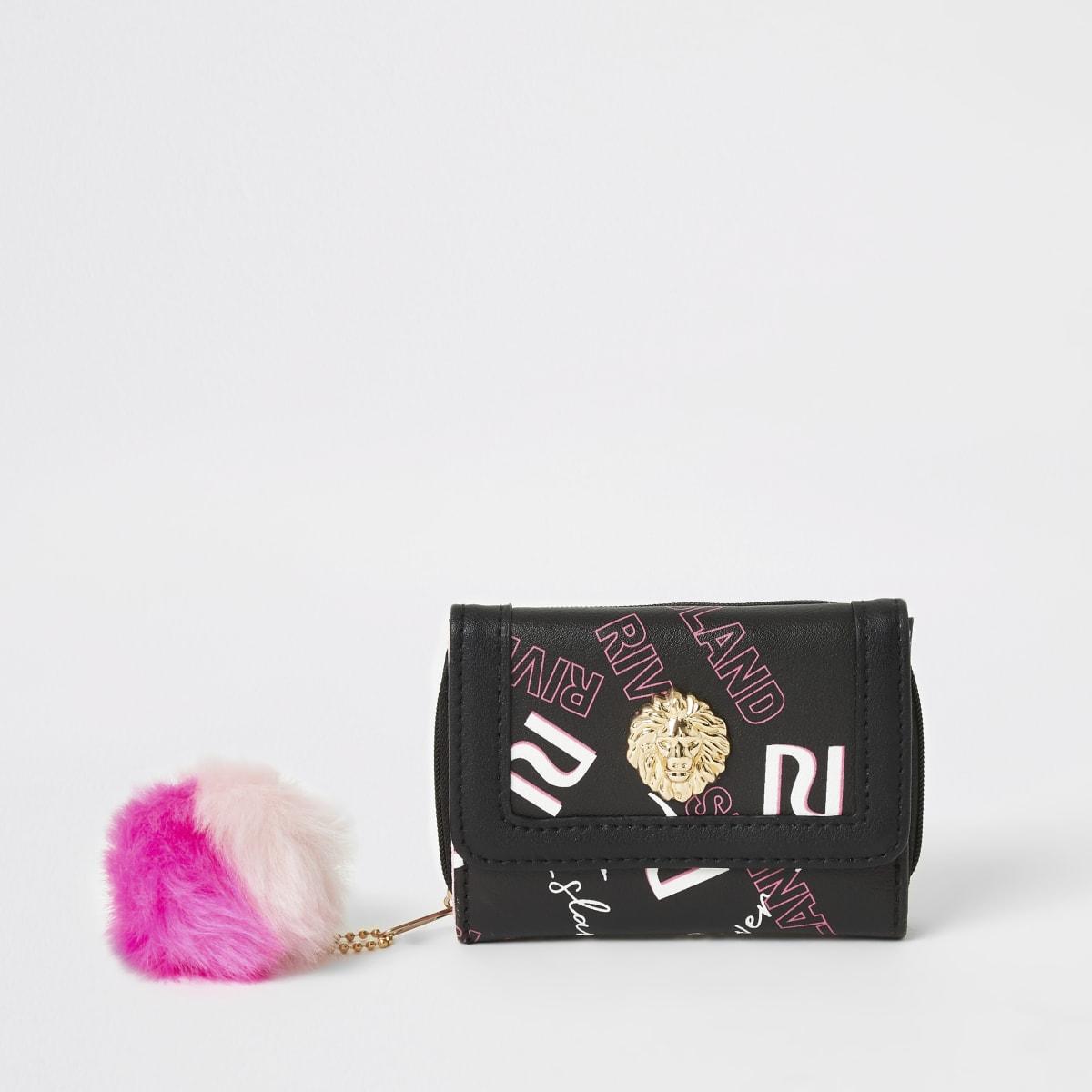 Girls black RI printed trifold purse