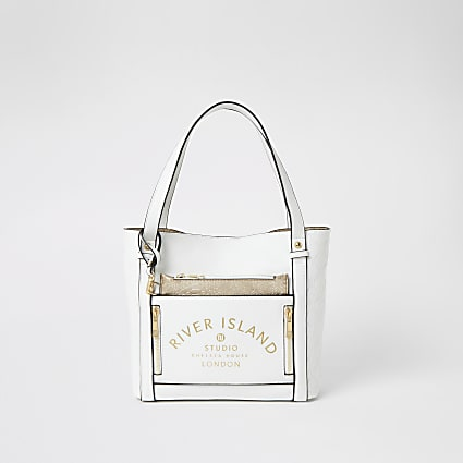 Girls white RI Studio shopper bag