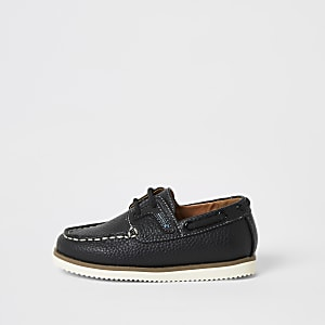 Chaussures bateau bleu marine à lacets mini garçon
