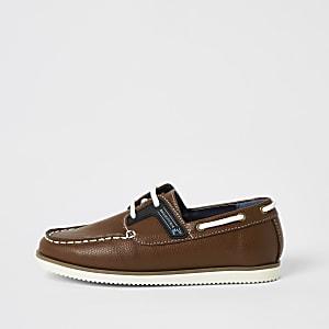 Chaussures bateau marron clairà lacets pour garçon