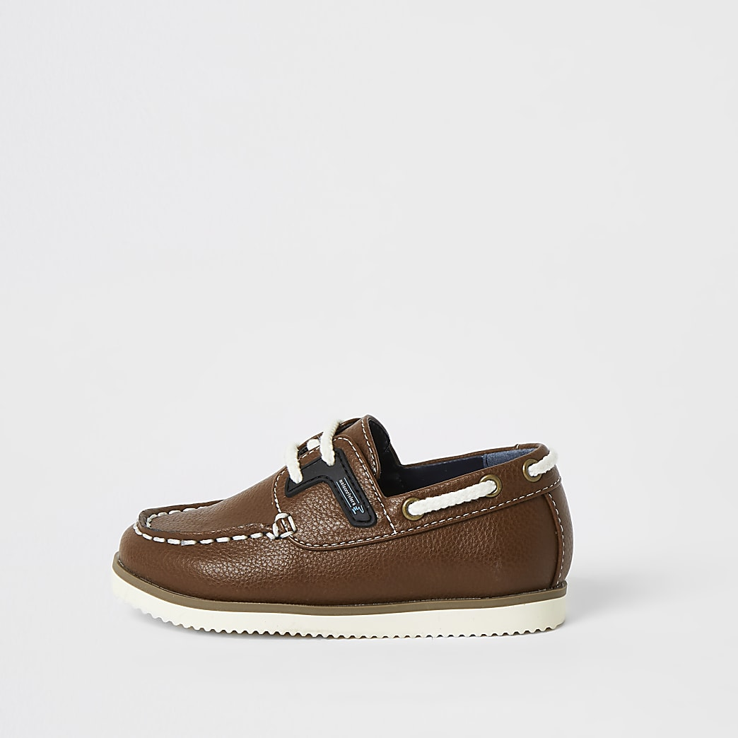 Mini boys light brown lace-up boat shoes
