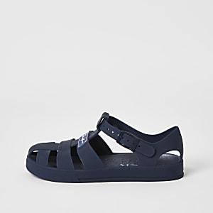 Prolific – Sandales en plastique bleu marine effet cage pour garçon