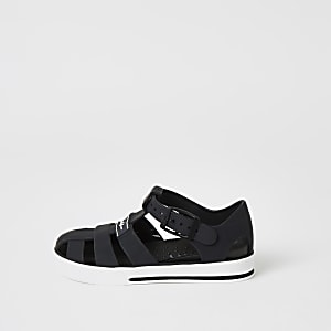 Sandales en plastique noires prolifiques en cage pour mini garçon