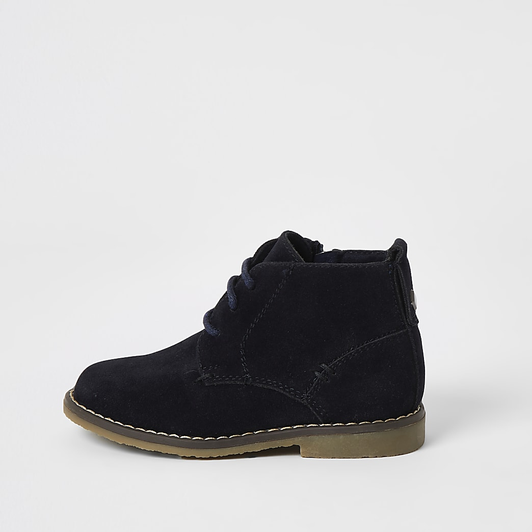 Mini boys navy lace-up desert boots