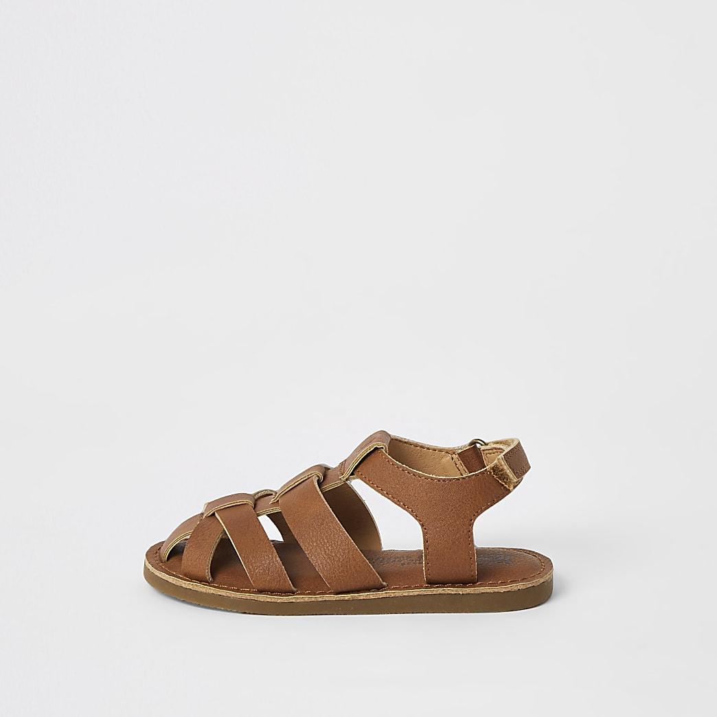 Mini boys brown strappy sandals