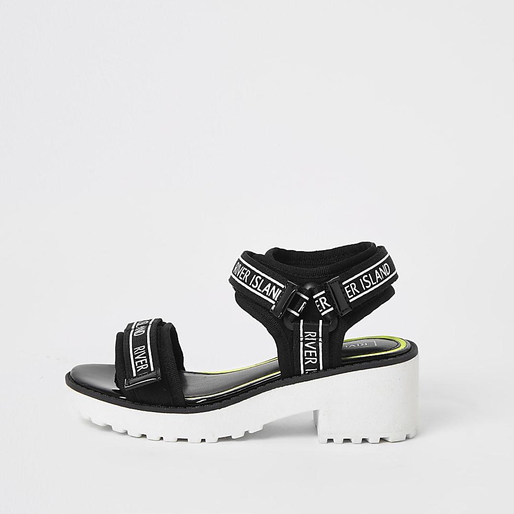 Zwarte stevige sandalen met RI-bies voor meisjes