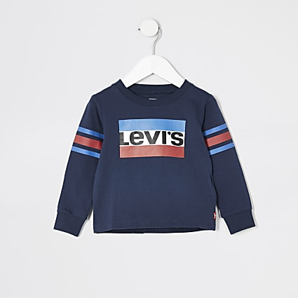 Mini boys Levi's navy long sleeve T-shirt
