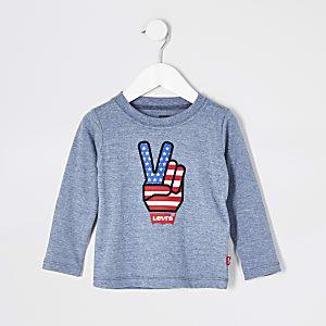 Mini - Levi's - Blauw T-shirt met lange mouwen voor jongens