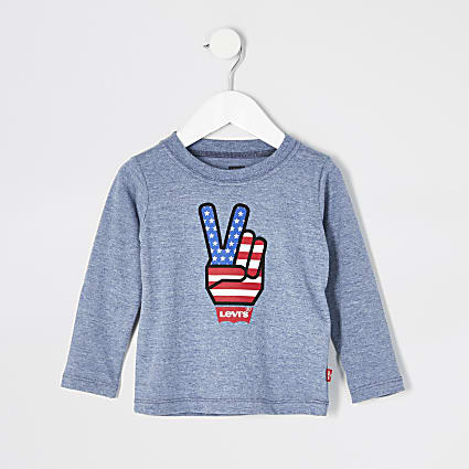 Mini boys Levi's blue long sleeve T-shirt