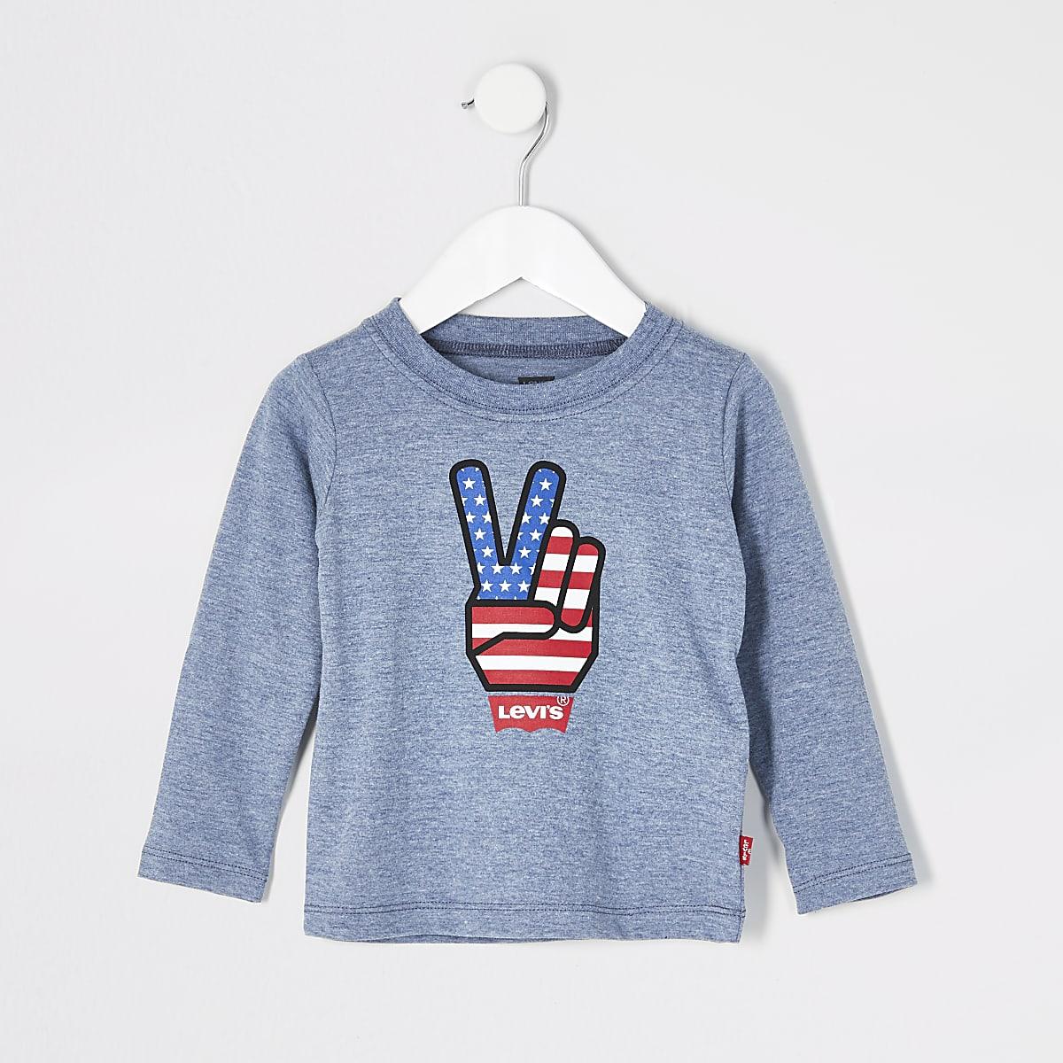 Mini boys Levi's blue long sleeve T-shirt