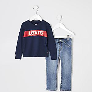 Mini - Levi's - Marineblauw T-shirt outfit voor jongens
