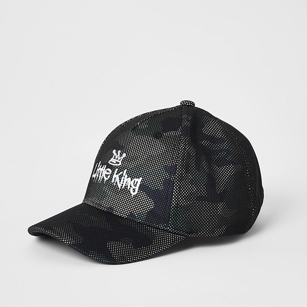 Mini boys khaki cami 'Little king' cap
