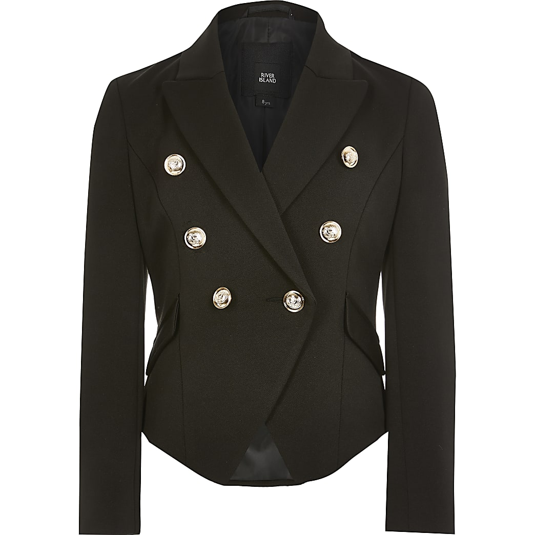 Girls black  double breasted blazer
