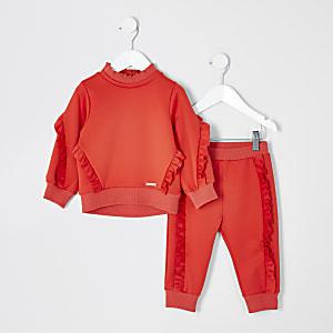 Mini – Rotes Scuba-Sweatshirt-Outfit mit Rüschen für Mädchen