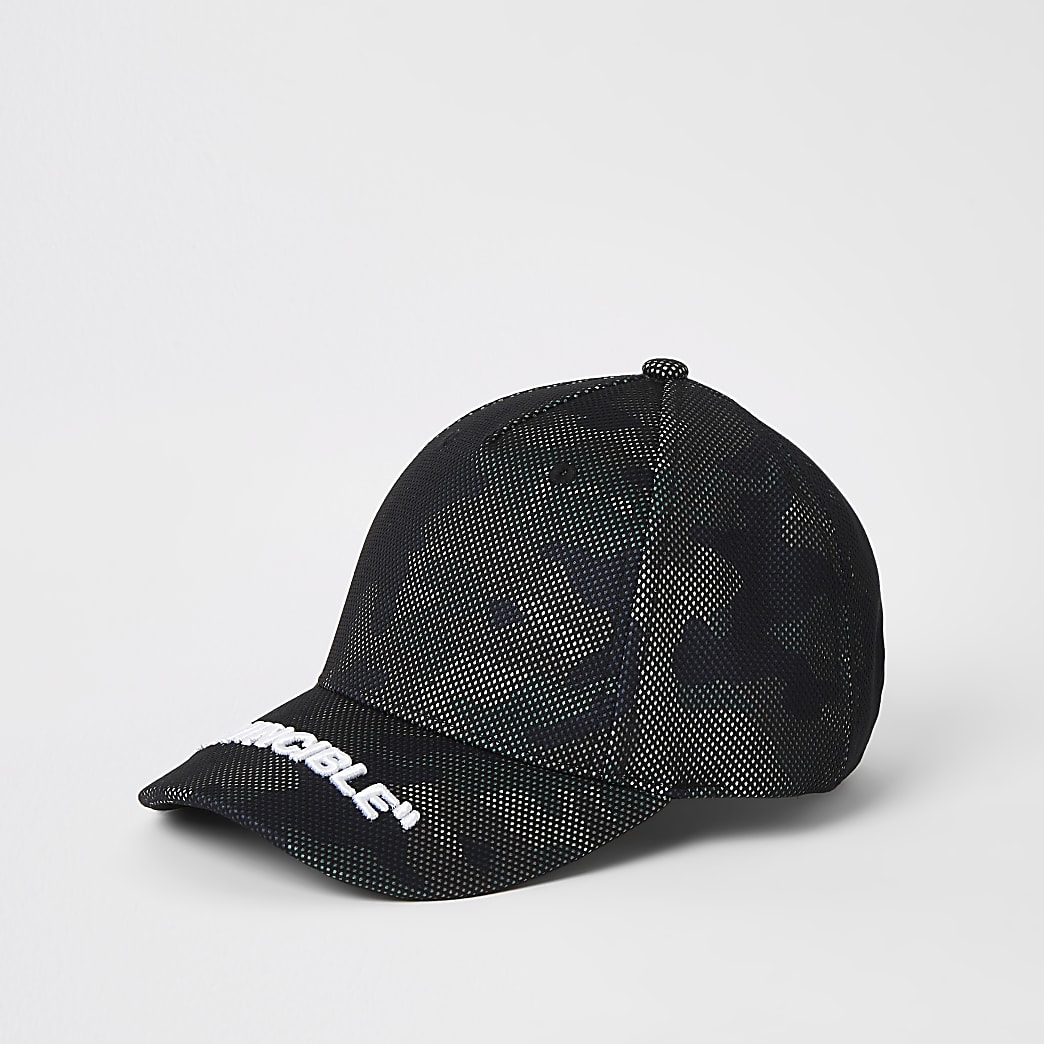 Boys black camo 'Invincible' mesh cap