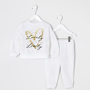 Ensemble sweatshirt  imprimé Mini fille blanc