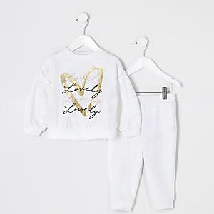 Mini - Outfit met wit sweatshirt met print voor meisjes