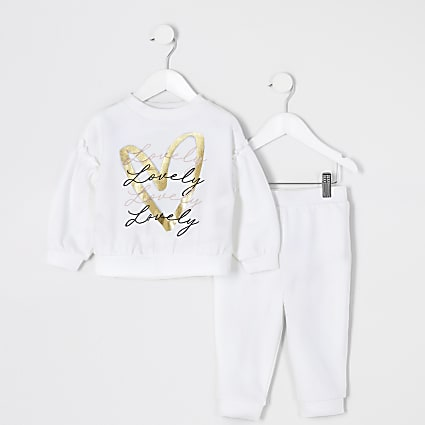 Mini girls white printed sweatshirt outfit