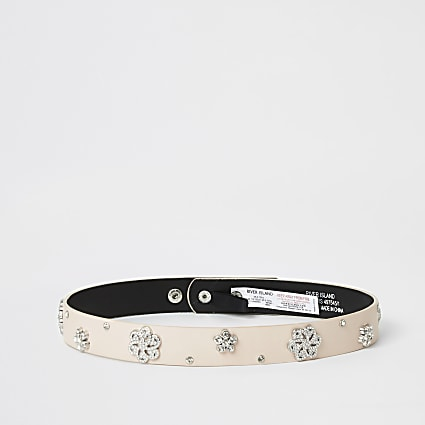 Girls pink diamante embellished waist belt