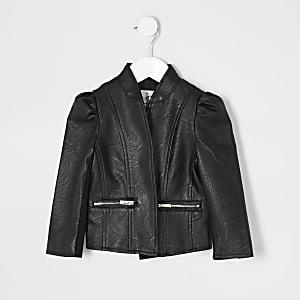 Mini – Schwarze Jacke aus Lederimitat für Mädchen