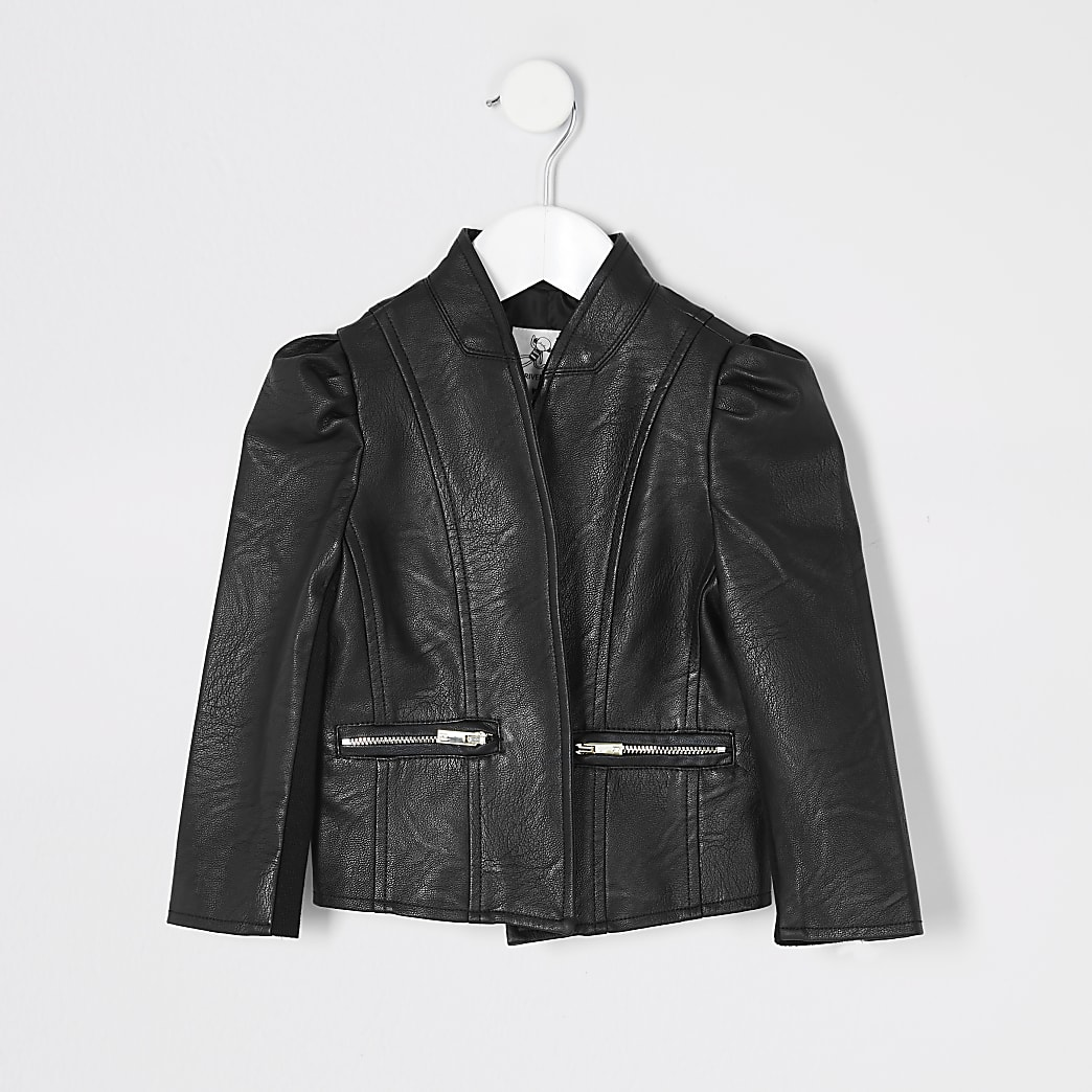 Mini girls black faux leather jacket
