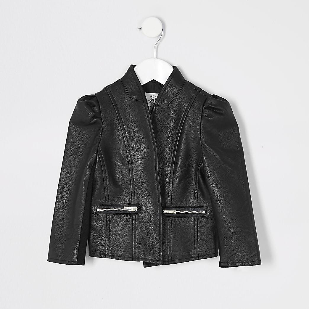 Mini - Zwart jack van imitatieleer voor meisjes