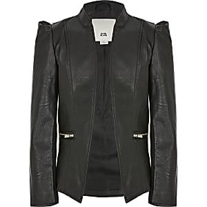 Schwarze Jacke für Mädchen aus Lederimitat mit Puffärmeln