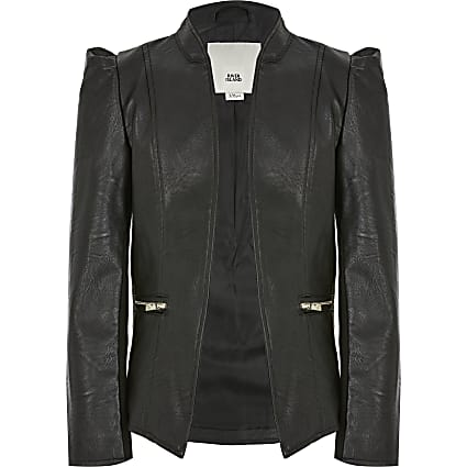 Girls black faux leather puff sleeve jacket