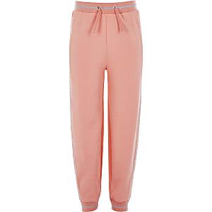 Pantalons de jogging corail avec strass sur lecôté pour fille