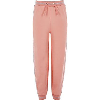 Girls coral diamante side joggers