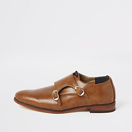 Boys brown monk strap shoes
