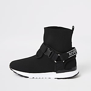 Boys black RI velcro buckle knitted trainers