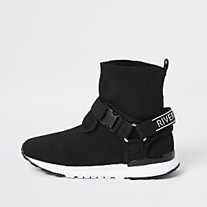 Zwarte gebreide sneakers met klittenband met RI-print en gesp voor jongens