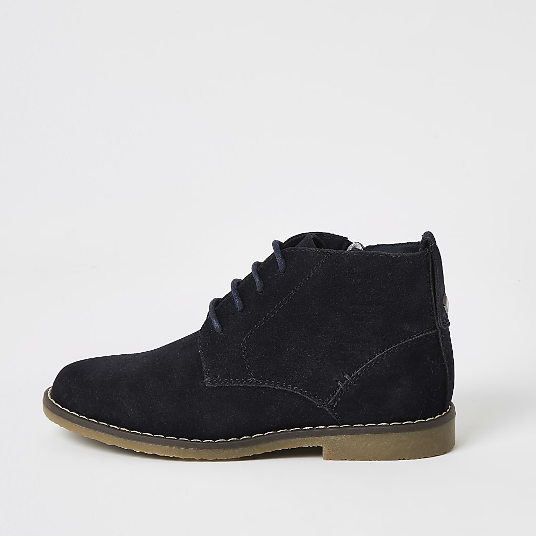 Boys navy lace-up desert boots