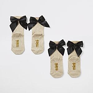 Mini - Set van 2 goudkleurige sokken met glitters en strikjes voor meisjes