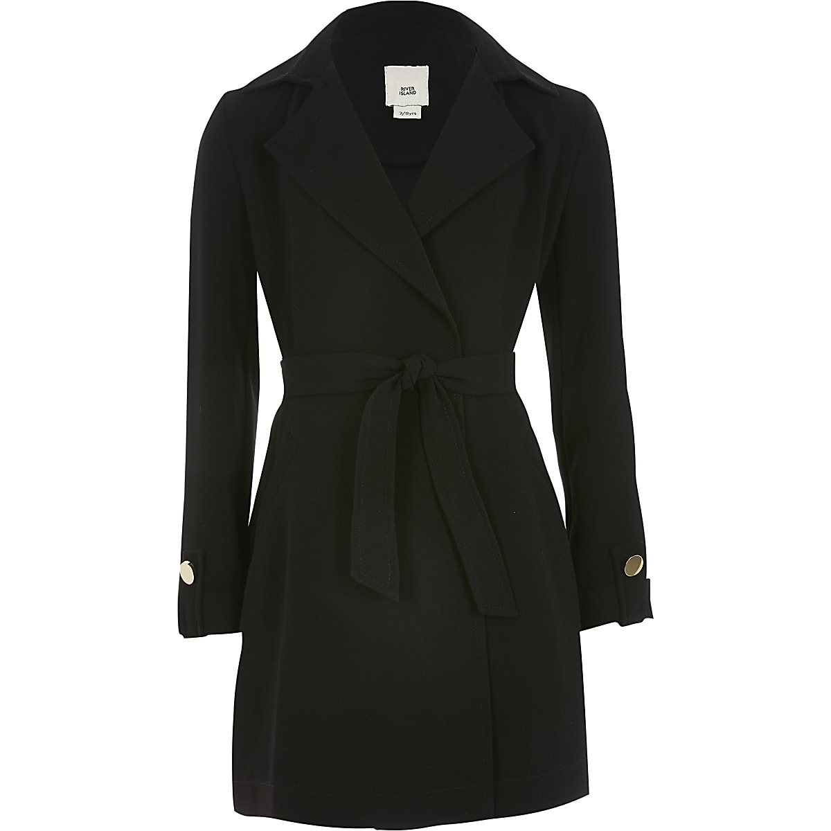 Girls black tie waist blazer
