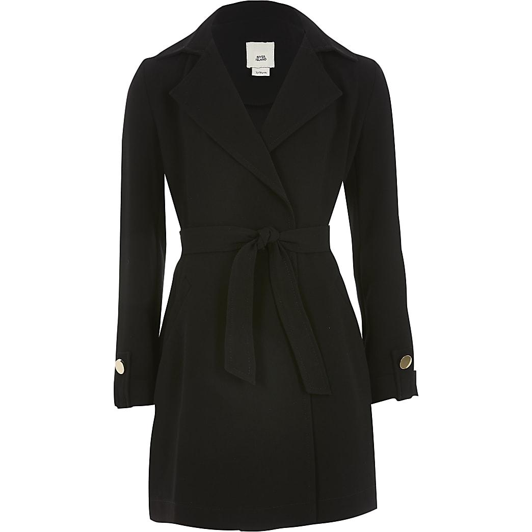 Girls black tie waist blazer