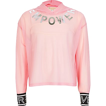 Girls RI Active pink mesh 'Empower' hoodie